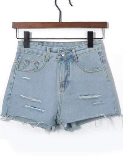 Light Blue High Waist Ripped Denim Shorts