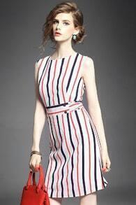 Blue Red Sleeveless Vertical Stripe Chiffon Dress