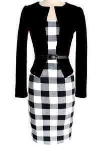 Black Long Sleeve Plaid Bodycon Pencil Dress