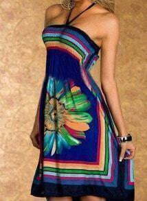 Blue Halter Floral Backless Bohemian Patterned Loose Tube Dress
