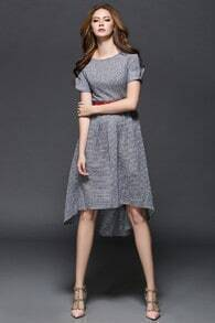 Grey Round Neck Plaid High Low Dress