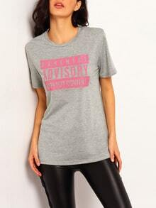 Grey Short Sleeve ADVISORY Print Loose T-Shirt