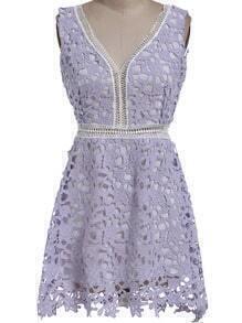 Purple V Neck Floral Crochet Hollow Dress