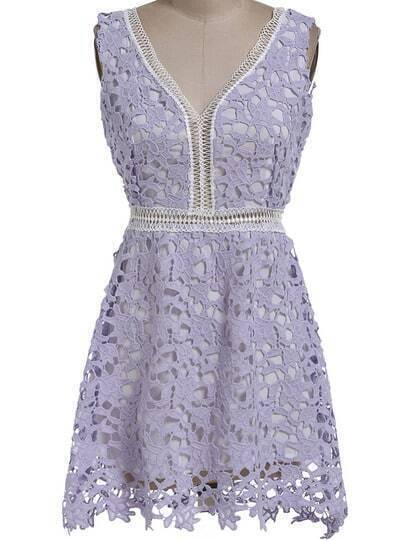 Purple V Neck Floral Crochet Hollow Dress