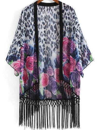 Blue Floral Loose Tassel Kimono