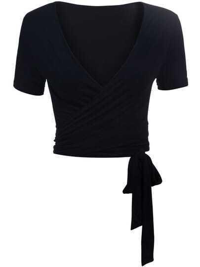Black V Neck Short Sleeve Knotted Crop T-Shirt
