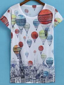 Multicolor Short Sleeve Balloon Print T-Shirt