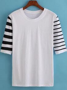 White Round Neck Striped Short Sleeve Loose T-Shirt