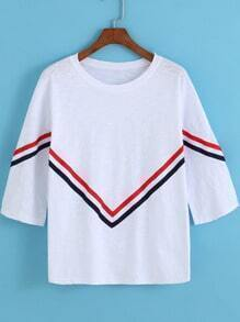 White Round Neck Striped Loose T-Shirt