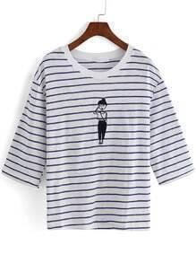Blue White Half Sleeve Striped Girl Print T-Shirt