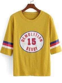 Yellow Round Neck 15 Print Loose T-Shirt