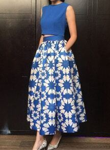 Blue Sleeveless Crop Top With Floral Skirt