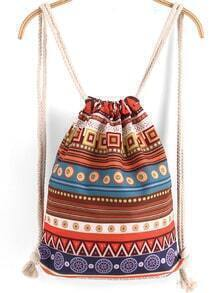 Khaki Tribal Print Backpack