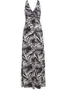Monochrome V Neck Leaves Print Maxi Dress