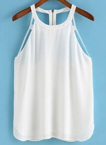 Back Zipper Hollow Tank Top