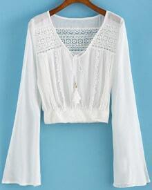 Bell Sleeve Crochet Hollow White Top