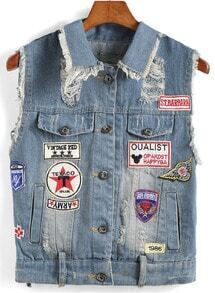 Lapel Ripped Embroidered Patch Denim Vest