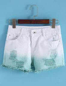 Ripped Fringe Denim Green Shorts