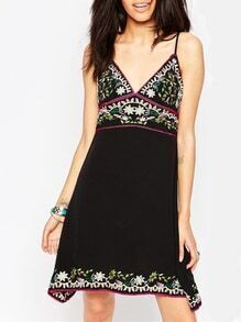 Black Spaghetti Strap Backless Tribal Embroidered Dress
