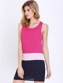 Rose Red Sleeveless Color Block Dress