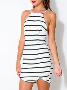 White Spaghetti Strap Backless Striped Dress