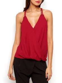 Red Spaghetti Strap V Neck Cami Top