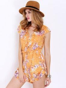 Yellow Cap Sleeve V Neck Floral Print Playsuit