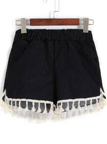 Black Elastic Waist Tassel Denim Shorts