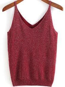 Red Spaghetti Strap Knit Loose Cami Top