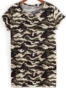 Green Round Neck Camouflage Print T-Shirt