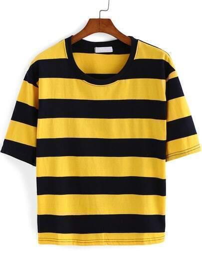 Camiseta cuello redondo rayas -amarilla y negra