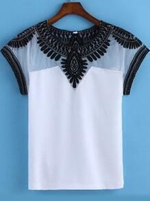 White Round Neck Embroidered Mesh T-Shirt