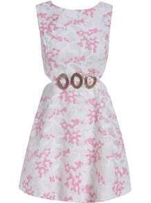 Pink Sleeveless Dolly Metal Embellished Embroidered Lace Dress