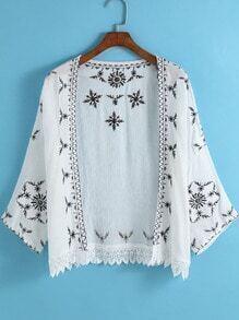 White Embroidered Peplum Hem Lace Kimono