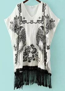 White V Neck Batwing Sleeve Embroidered Tassel Dress