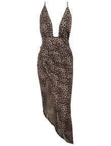 Leopard Criss Cross Back Backless Split Fishtail Dress