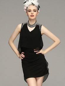 Black Sleeveless Bead Bodycon High Low Dress