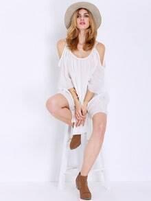 White Half Sleeve Off The Shoulder Dress