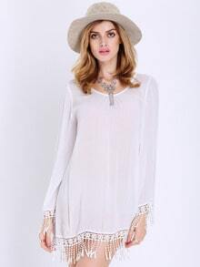 White Long Sleeve With Lace Tassel Dress