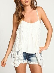 White Spaghetti Strap Crochet Lace Cami Top