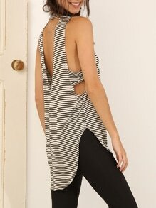 White Black Sleeveless Striped High Low Tank Top