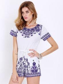 White Short Sleeve Vintage Print Playsuit
