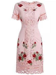 Pink Round Neck Short Sleeve Tribal Embroidered Hollow Dress