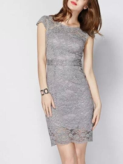 Grey Round Neck Cap Sleeve Backless Lace Dress