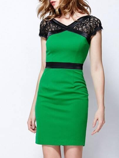 Green V Neck Short Lace Sleeve Bodycon Dress