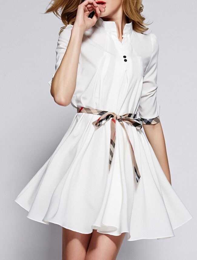 White Stand Collar Half Sleeve Drawstring Dress