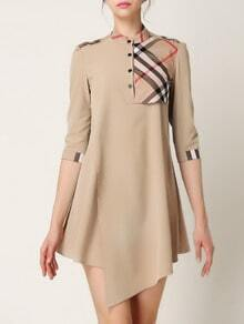 Beige Stand Collar Half Sleeve Check Dress