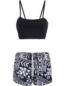 Black Spaghetti Strap Crop Top With Floral Shorts