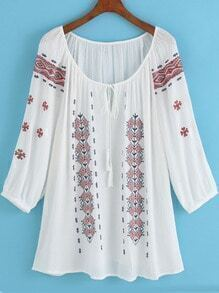 White Long Sleeve Tribal Embroidered Loose Blouse