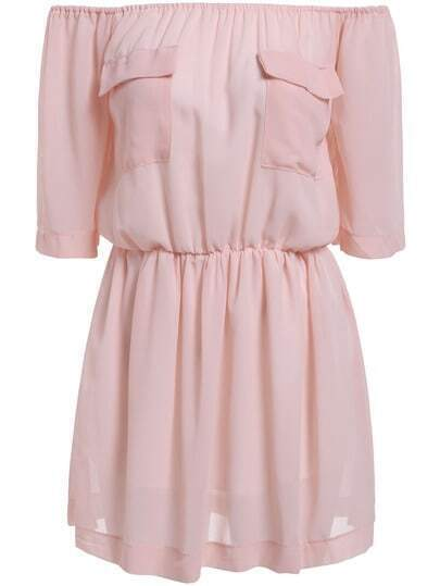 Pink Off the Shoulder Pockets Loose Dress